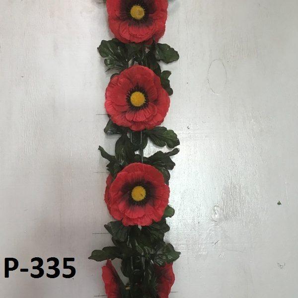 Искусственная гирлянда P-335, гирлянда из маков