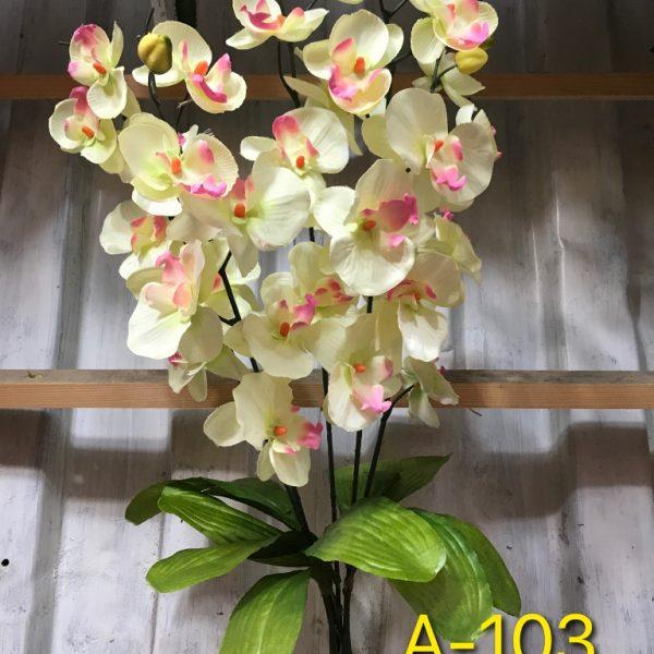 Искусственный букет A-103, веточка белой орхидеи