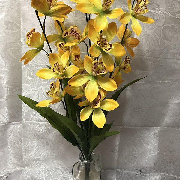 Искусственный букет A-108, ветка желтой орхидеи