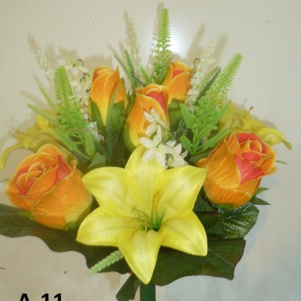 Искусственный букет A-11, розы и лилии