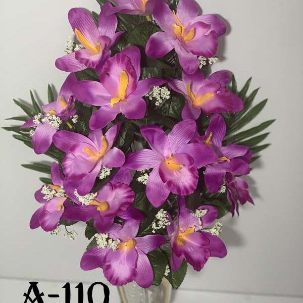 Искусственный букет A-110, розовая орхидея с папоротником