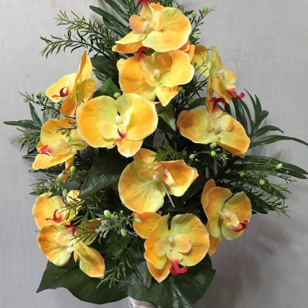 Искусственный букет A-114, желтая орхидея в виде веера