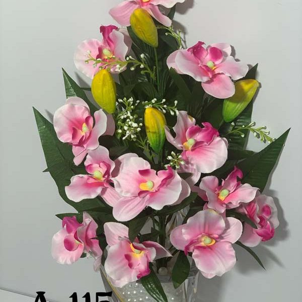 Искусственный букет A-115, розовая орхидея с бутонами