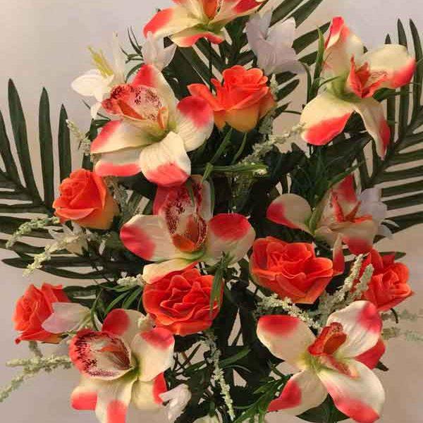 Искусственный букет A-134, «веерная композиция из роз и орхидей»