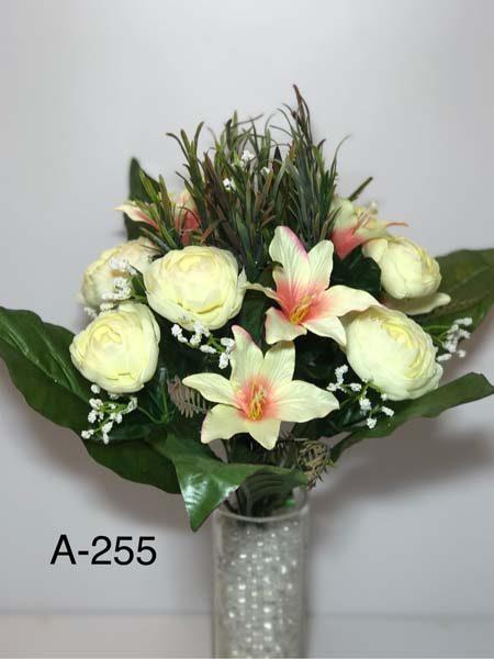 Искусственный букет A-255 Камелия и лилии с украшениями