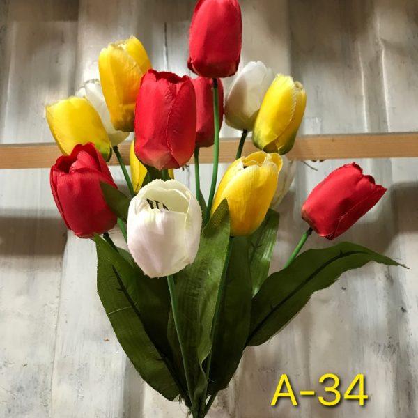 Искусственный букет A-34, микс тюльпанов