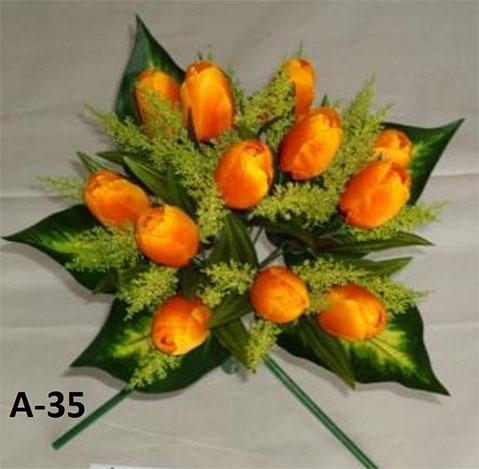 Искусственный букет A-35, тюльпаны с зеленью