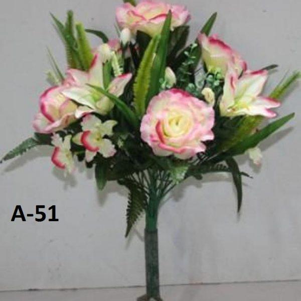 Искусственный букет A-51, роза с лилией и орхидеей.