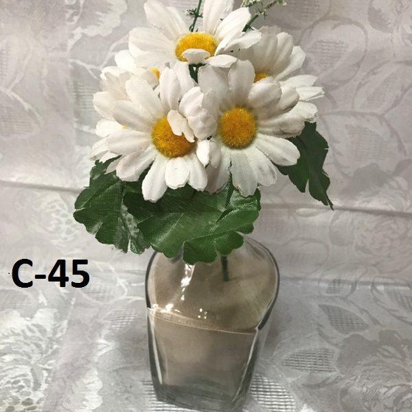 Искусственная ветка P-384- белая хризантема