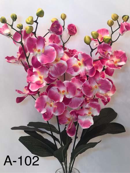 Искусственный букет A-102, 5 веток бело-розовой орхидеи
