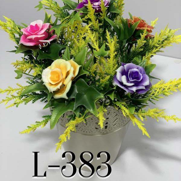 Искусственный букет L-383, Пластмассовая роза с украшениями