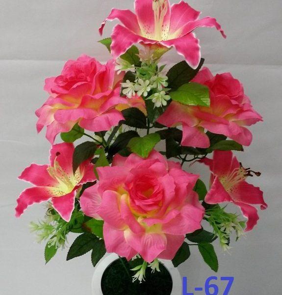 Искусственный букет L-67, розы и лилии
