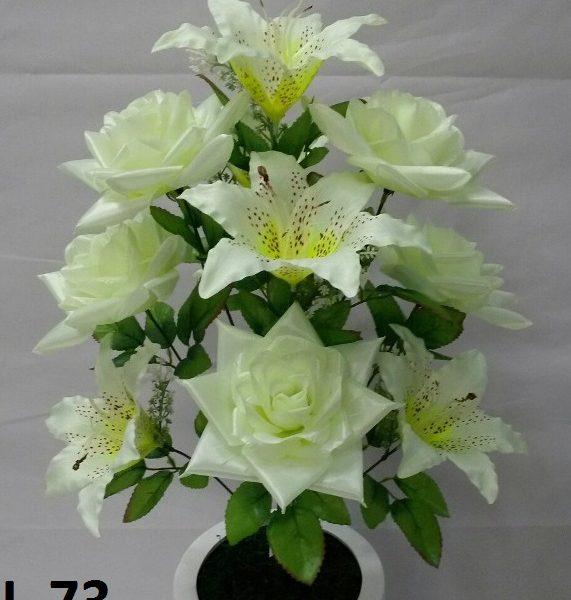 Искусственный букет L-73, белые розы и лилии