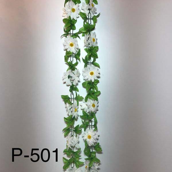 Искусственная гирлянда P-501, гирлянда из ромашек и листочков