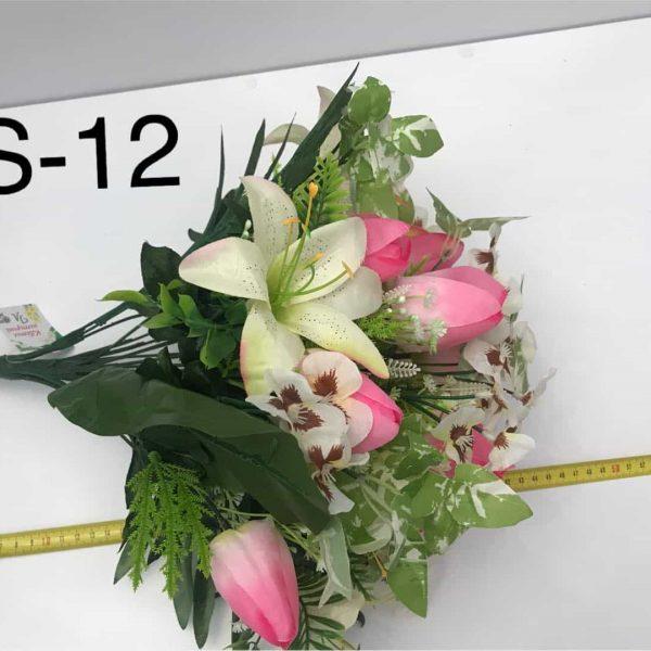 Искусственный букет S-12, Фиалка Виттрока, лилии и тюльпаны
