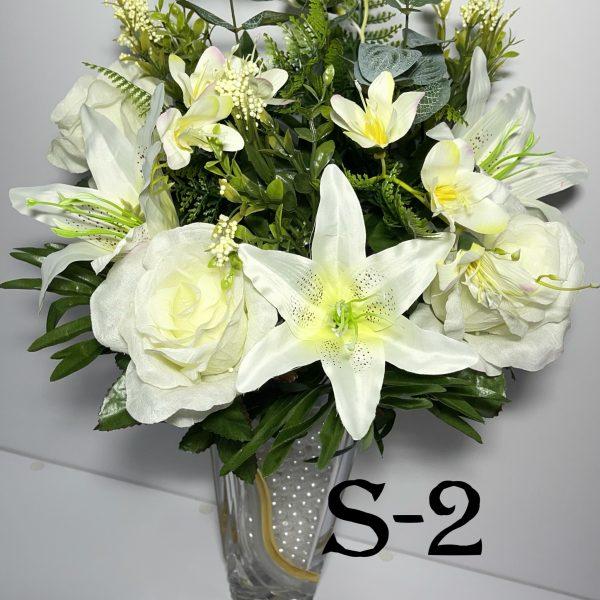 Искусственный букет S-2 , Розы, лилии, мимоза и наперстянка