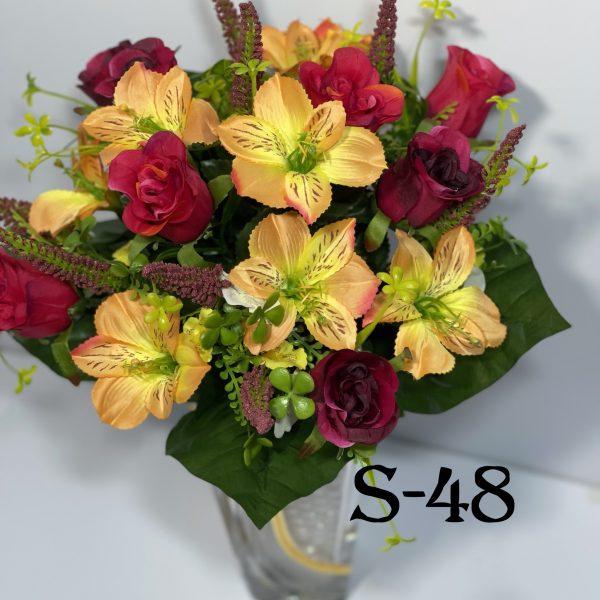 Искусственный букет S-48, Бутоны роз и орхидей