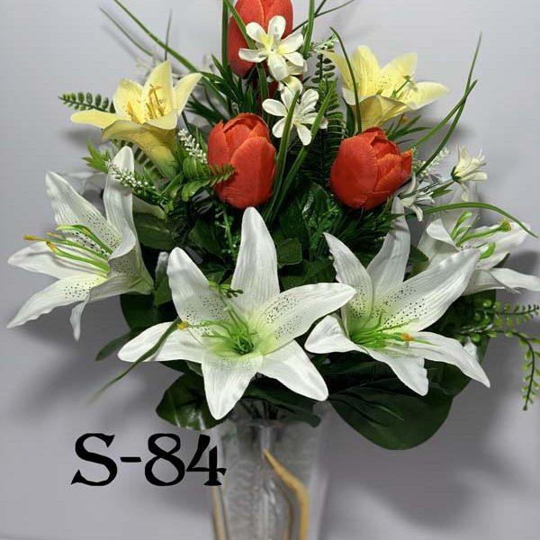 Искусственный букет S-84, Тюльпаны и лилии