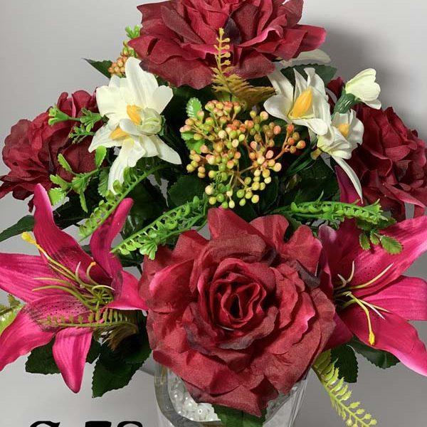 Искусственный букет S-78, Открытые розы и лилии